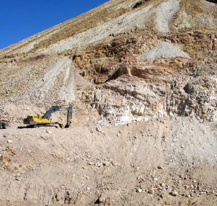 Excavator at the current turquoise vein site.